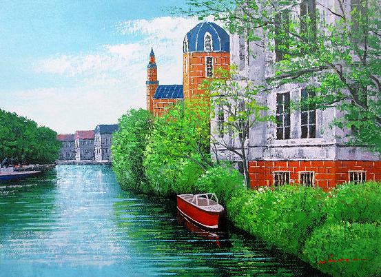 油絵 肉筆絵画 M20サイズ 「ブルージュ」 広瀬 和之 木枠付 -新品