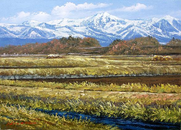 油絵 肉筆絵画 M20サイズ 「八ヶ岳」 広瀬 和之 木枠付 -新品