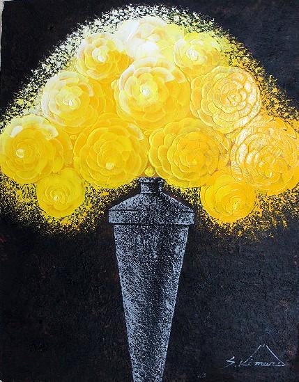 額縁 アートフレーム付きで 額装納品対応可 油絵 肉筆絵画 F4サイズ 「黄薔薇」 木村 茂 木枠付 -新品