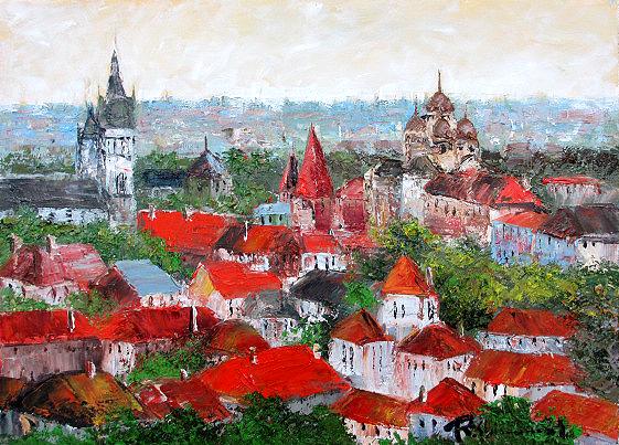油絵 肉筆絵画 M20サイズ 「タリン(エストニア)」 島本 良平 木枠付 -新品