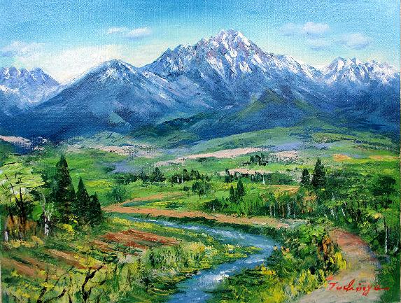 油絵 肉筆絵画 F12サイズ 「八ヶ岳山麓」 土屋 茂 木枠付 -新品