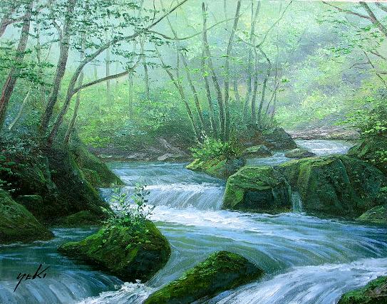 油絵 肉筆絵画 F6サイズ 「奥入瀬渓流」 関 健造 木枠付 -新品