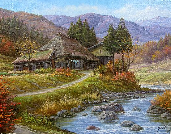 油絵 肉筆絵画 F15サイズ 「山村清流3」 関 健造 木枠付 -新品