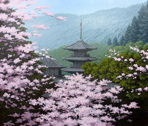 油絵 肉筆絵画 F10サイズ 「三重の塔に桜」 朝隈 敏彦 木枠付 -新品
