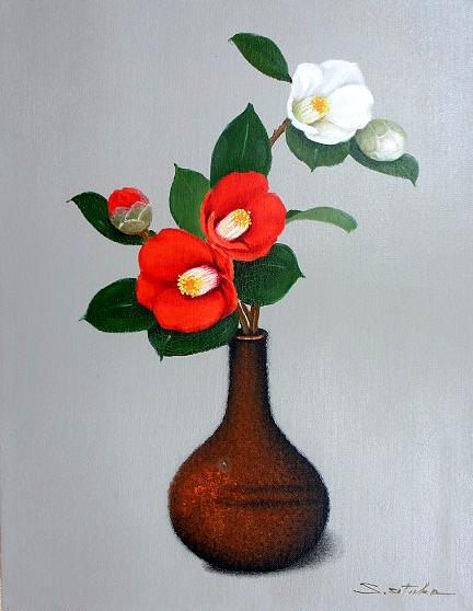 油絵 肉筆絵画 F6サイズ 「椿2(縦・横)」 千賀 節子 木枠付 -新品