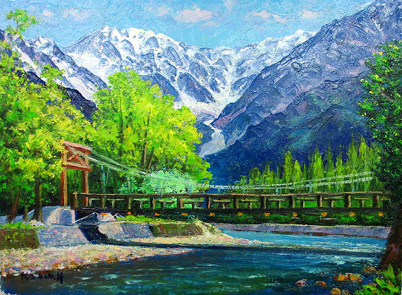 油絵 肉筆絵画 F15サイズ 「河童橋」 半澤 国雄 木枠付 -新品