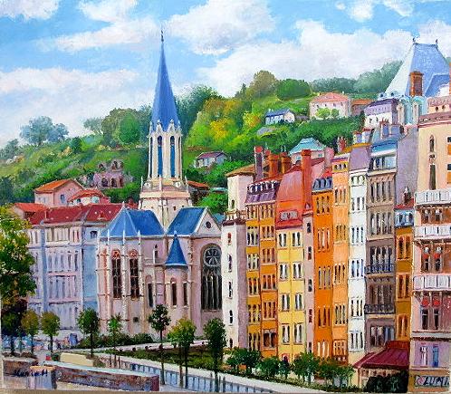 【オンラインショップ】 油絵 肉筆絵画 F15サイズ 「パリの街」 半澤 国雄 木枠付 -新品, 玉造町 5c794fcb