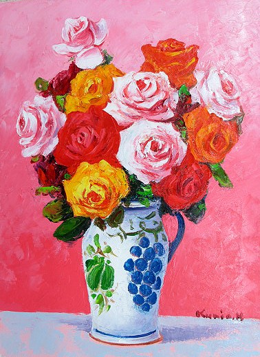 人気ブラドン 油絵 肉筆絵画 F15サイズ 「薔薇 (縦)」 半澤 国雄 木枠付 -新品, 花器茶道具いとうや商店 d4cc0549