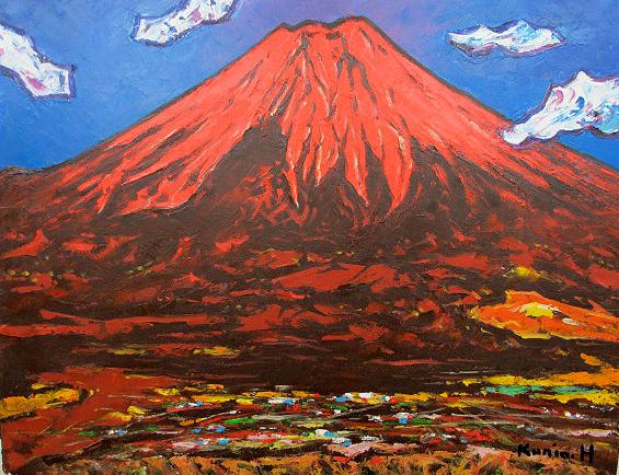 油絵 肉筆絵画 F15サイズ 「赤富士」 半澤 国雄 木枠付 -新品