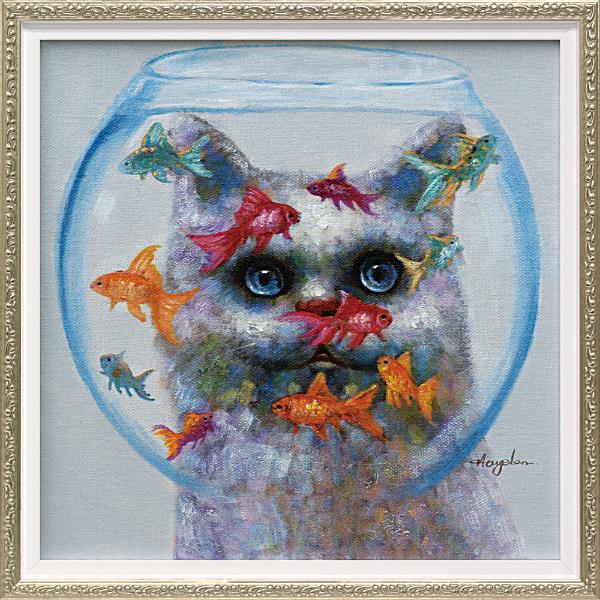油絵 額装 肉筆絵画 オイル ペイント アート「キャット アンド フィッシュ(Sサイズ)」OP-07012-新品