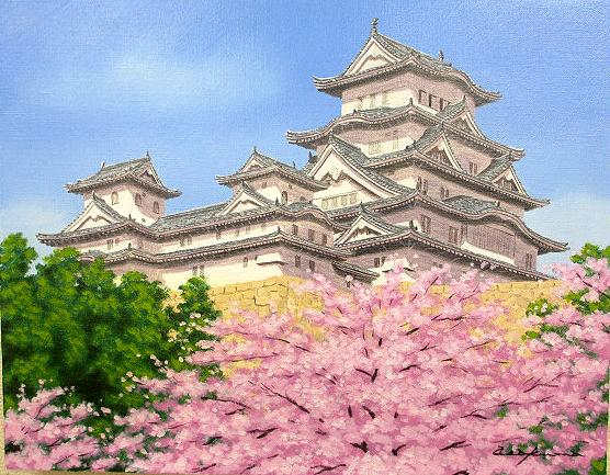 油絵 肉筆絵画 F10サイズ 「姫路城に桜」 朝隈 敏彦 木枠付 -新品