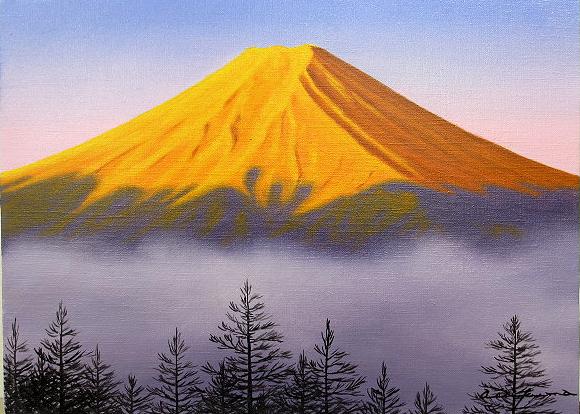 油絵 肉筆絵画 F6サイズ 「赤富士」 朝隈 敏彦 木枠付 -新品