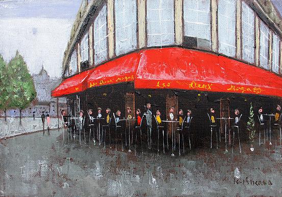 油絵 肉筆絵画 F6サイズ 「パリのカフェ オード・ワ・マゴ」 石川 佳図 木枠付 -新品