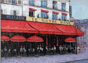 油絵 肉筆絵画 F6サイズ 「パリのカフェ ノートルダム」 石川 佳図 木枠付 -新品