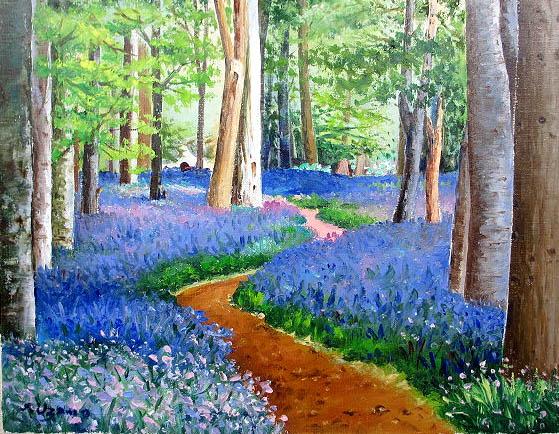 油絵 肉筆絵画 F4サイズブルーベルの森羽沢 清水 木枠付新品dxBeEQrCoW