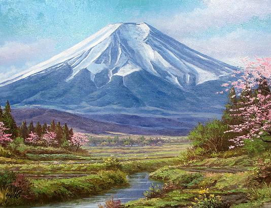 油絵 肉筆絵画 F20サイズ 「富士」 関 健造 木枠付 -新品