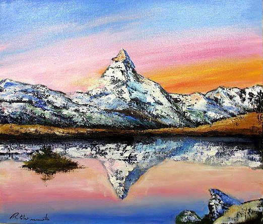 油絵 肉筆絵画 M15サイズ 「マッターホルン」 島本 良平 木枠付 -新品