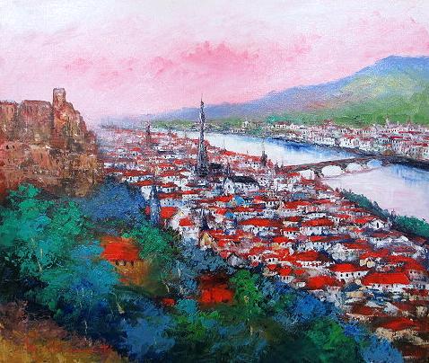 油絵 肉筆絵画 M20サイズ 「ハイデルベルク」 島本 良平 木枠付 -新品