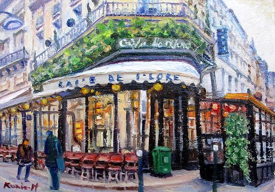 油絵 肉筆絵画 F10サイズ 「パリのカフェ1」 半澤 国雄 木枠付 -新品