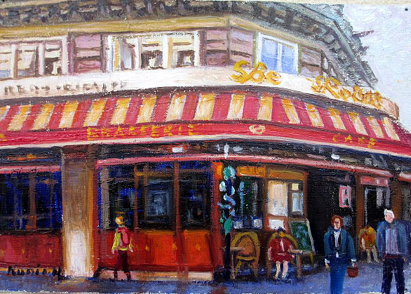 油絵 肉筆絵画 F10サイズ 「パリのカフェ2」 半澤 国雄 木枠付 -新品