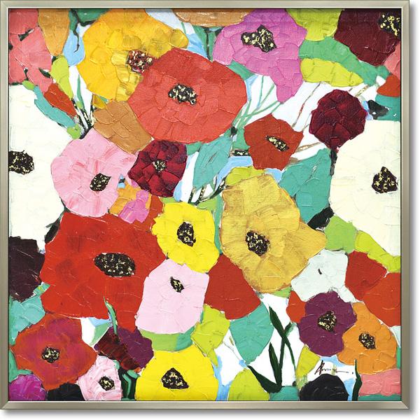 油絵 額装 肉筆絵画 オイル ペイント アート「リッチ ブルーム」OP-25069-新品