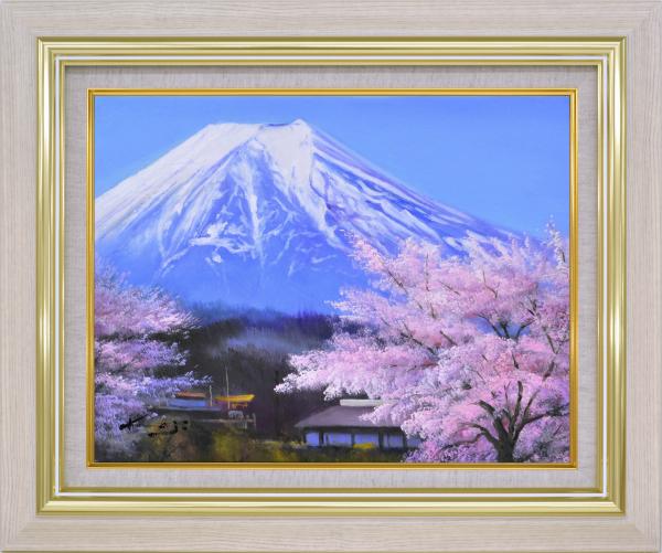 額装油絵 油絵 肉筆絵画 F10 「里の桜に富士」 加治秀雄 -新品