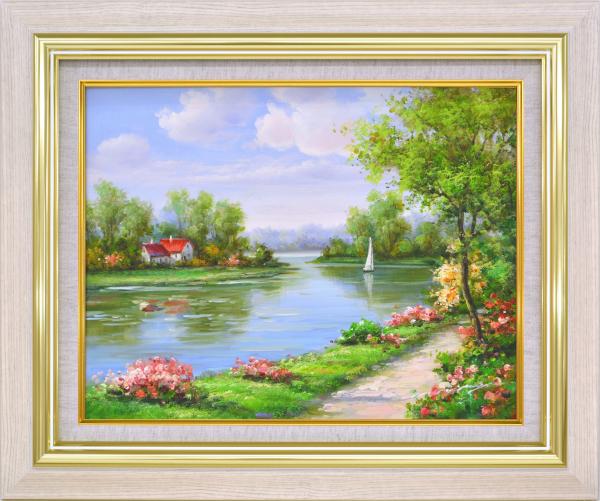 モリンガ 油絵 -新品 「花畑に彩られて 肉筆絵画 額装油絵 F6 1」