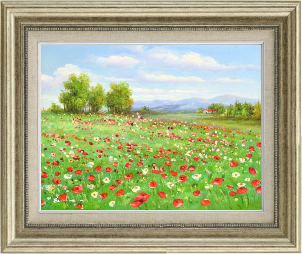 額装油絵 油絵 肉筆絵画 F6 「アネモネの咲く丘」 エマ -新品