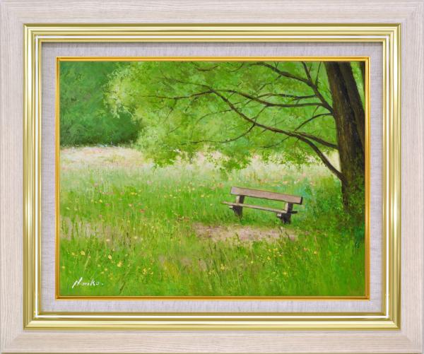 額装油絵 油絵 肉筆絵画 F6 「こもれ日のベンチ」 山野 法子 -新品