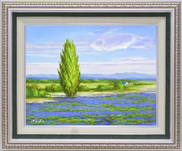 額装油絵 油絵 肉筆絵画 F6 「北のラベンダー畑」 山野 法子 -新品