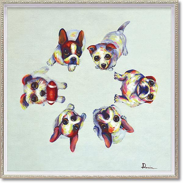 油絵 額装 肉筆絵画 オイル ペイント アート「ドッグサークル(Mサイズ)」OP-18009-新品