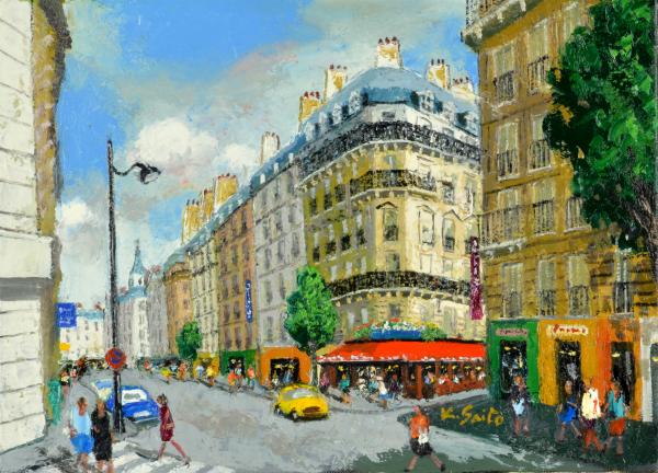 油絵 肉筆絵画 F3サイズ NO.5 「パリの街(1)」 斎藤 要 木枠付 -新品