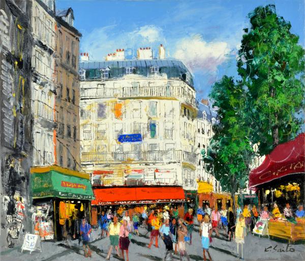油絵 肉筆絵画 F3サイズ NO.8 「パリの街角(2)」 斎藤 要 木枠付 -新品