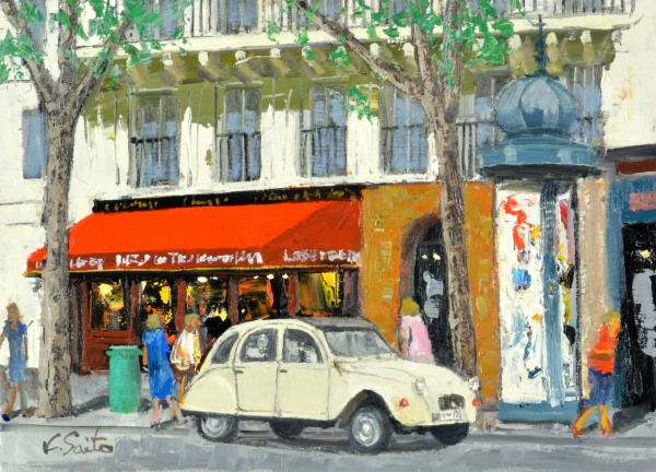 油絵 肉筆絵画 F20サイズ NO.10 「パリの街(2)(赤屋根カフェとWhite car)」 斎藤 要 木枠付 -新品