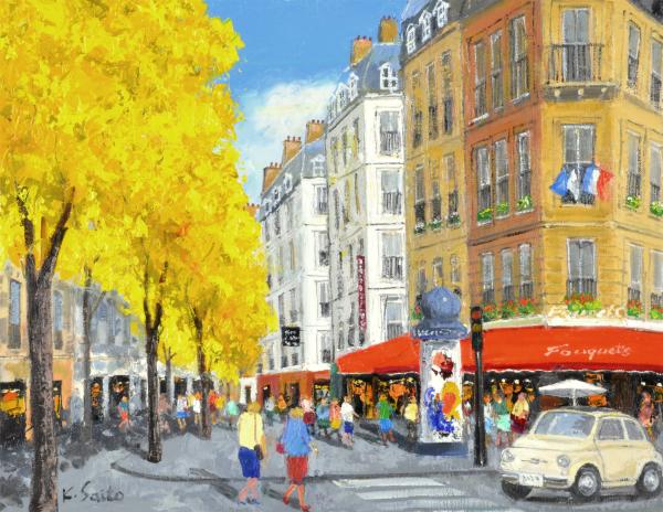 油絵 肉筆絵画 F10サイズ NO.18 「マロニエの街」 斎藤 要 木枠付 -新品