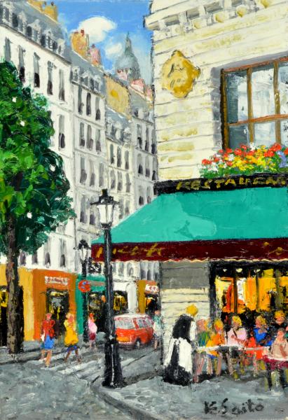 油絵 肉筆絵画 F6サイズ NO.34 「街灯のある街角」タテ 斎藤 要 木枠付 -新品