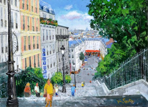 油絵 肉筆絵画 F6サイズ NO.37 「石段のある街」 斎藤 要 木枠付 -新品