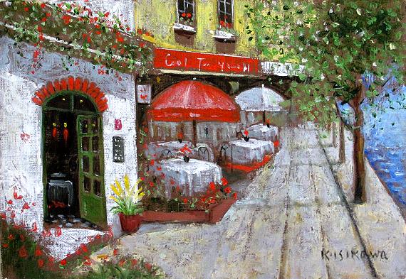 油絵 肉筆絵画 F4サイズ 「パリのカフェ」 石川 佳図 木枠付 -新品