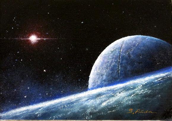 額縁 アートフレーム付きで 額装納品対応可 油絵 肉筆絵画 F4サイズ 「Mistery of the univers(大宇宙の神秘)」 相田 省吾 木枠付 -新品