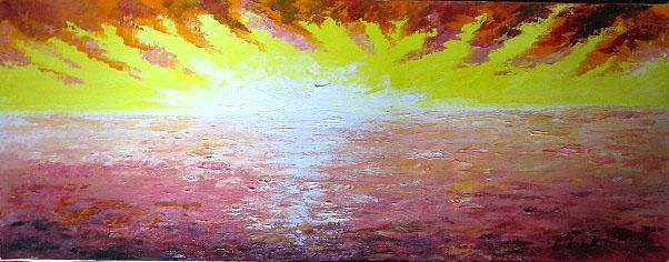 油絵 肉筆絵画 WF6サイズ 「朝焼け」 伊吹 浩一 木枠付 -新品