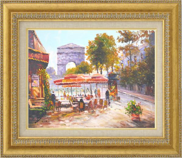 額装油絵 油絵 肉筆絵画 F6 「パリ凱旋門」 山下 大希 9631ゴールド -新品