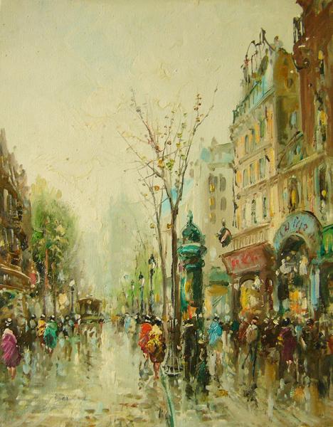 油絵 肉筆絵画 F6号(絵寸410X318mm) ディモニ作 「パリの街角4」 木枠付-新品