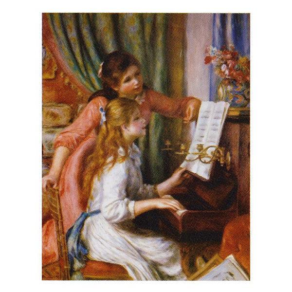 ピエール・オーギュスト・ルノワール作 「ピアノに向かう二人の若い娘」 P10号 額縁付 世界の名画シリーズ プリハード-新品