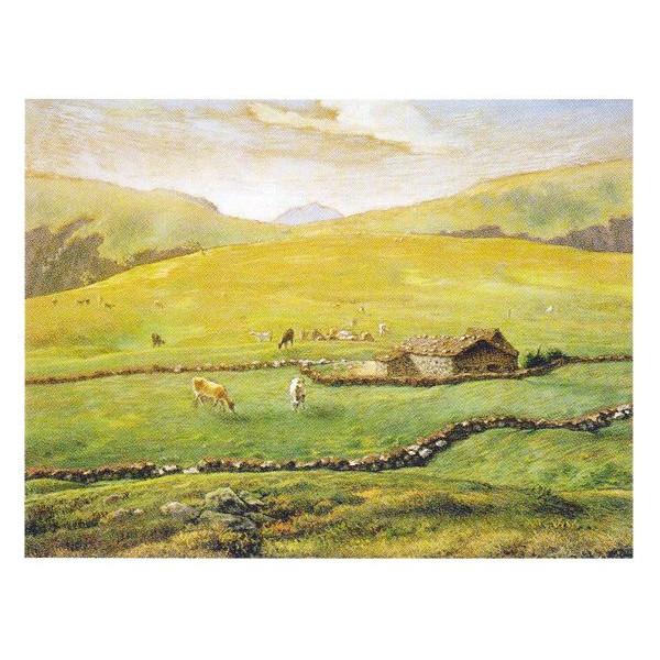 ジャン・フランソワ・ミレー作 「ヴォージュ山中の牧場風景」 P10号 額縁付 世界の名画シリーズ プリハード-新品
