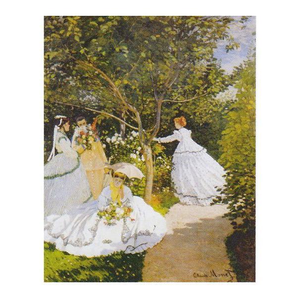 クロード・モネ作 「庭の女たち」 P10号 額縁付 世界の名画シリーズ プリハード-新品