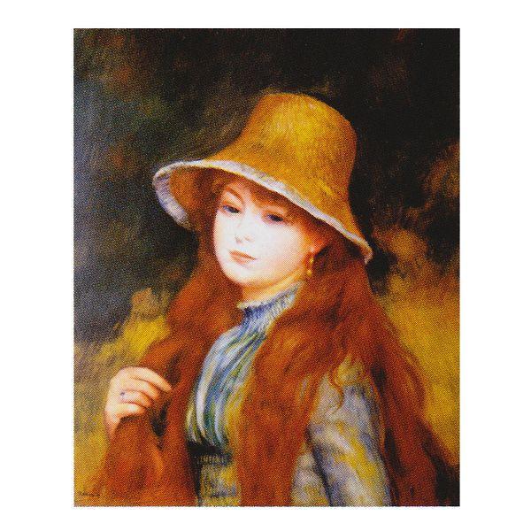 ピエール・オーギュスト・ルノワール作 「長い髪をした若い娘」 F8号 額縁付 世界の名画シリーズ プリハード-新品