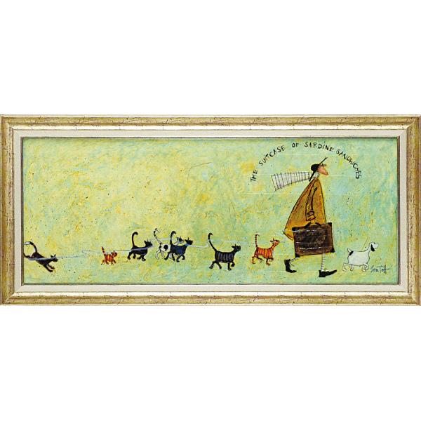 額縁付き 絵画 アートフレーム サム トフト「いわしサンド スーツケース」 ST-15013 -新品
