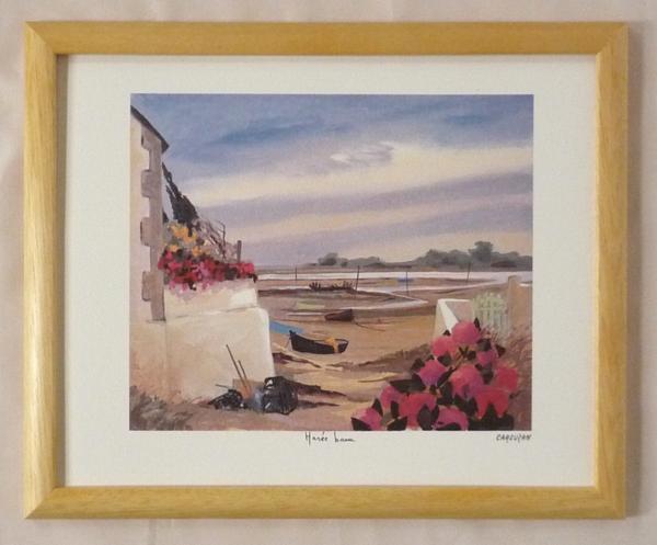 ヨーロッパ製額装ポスター 市販 24X30cm -53 D150-新品 海岸のボート 数量限定
