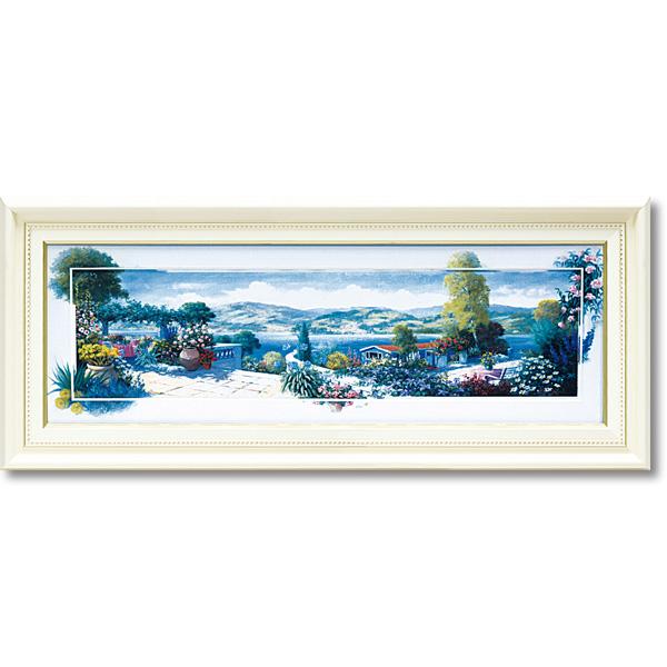 額縁付き 絵画 アートフレーム ピーター モッツ「パノラマ テラス1(Mサイズ)」 PM-11001-新品