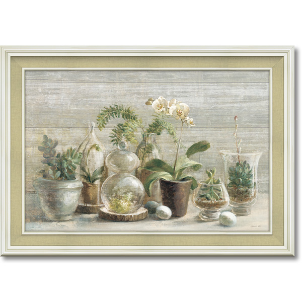 額縁付き 絵画 アートフレーム ダンフイ ナイ「グリーンハウス オーキッド」 DN-13005 -新品
